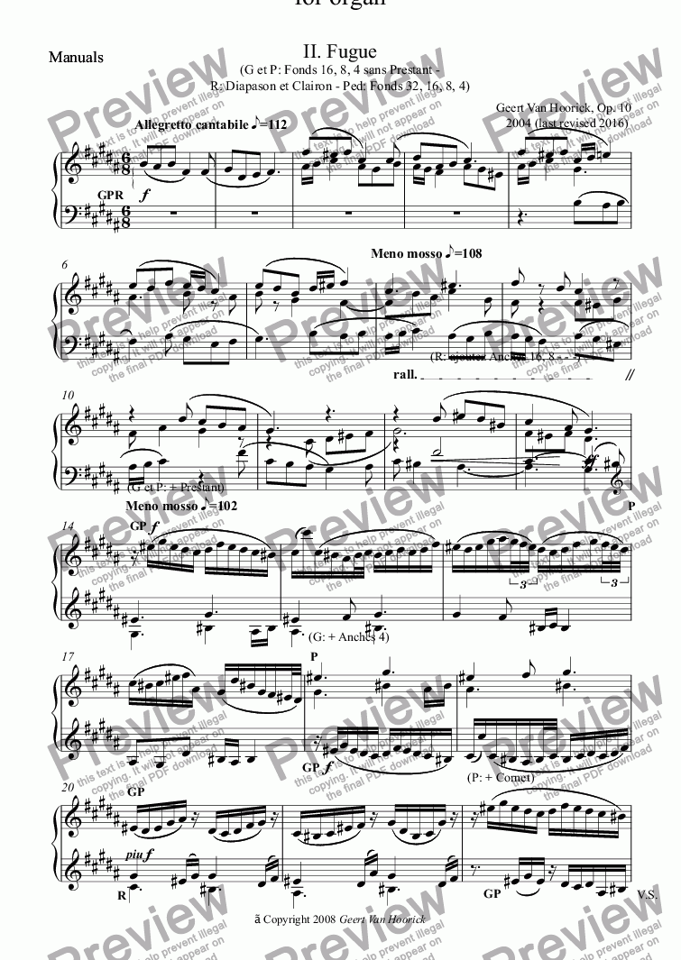 page one of the Manuals part from Symphony No. 1 in B minor for organ, Op. 10 - II. Fugue