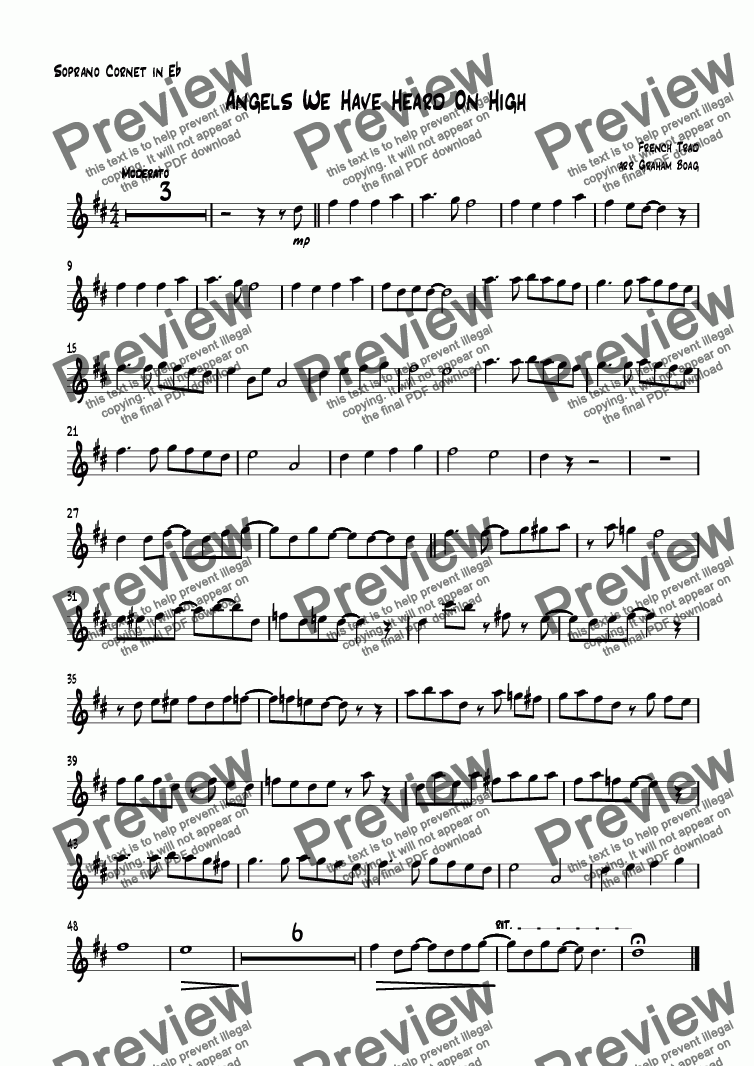 page one of the Soprano Cornet in E^b part from Angels We Have Heard On High