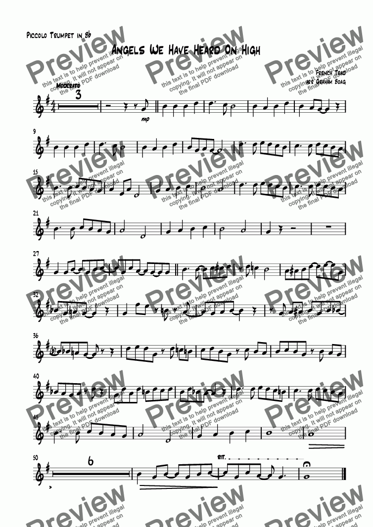 page one of the Piccolo Trumpet in B^b part from Angels We Have Heard On High