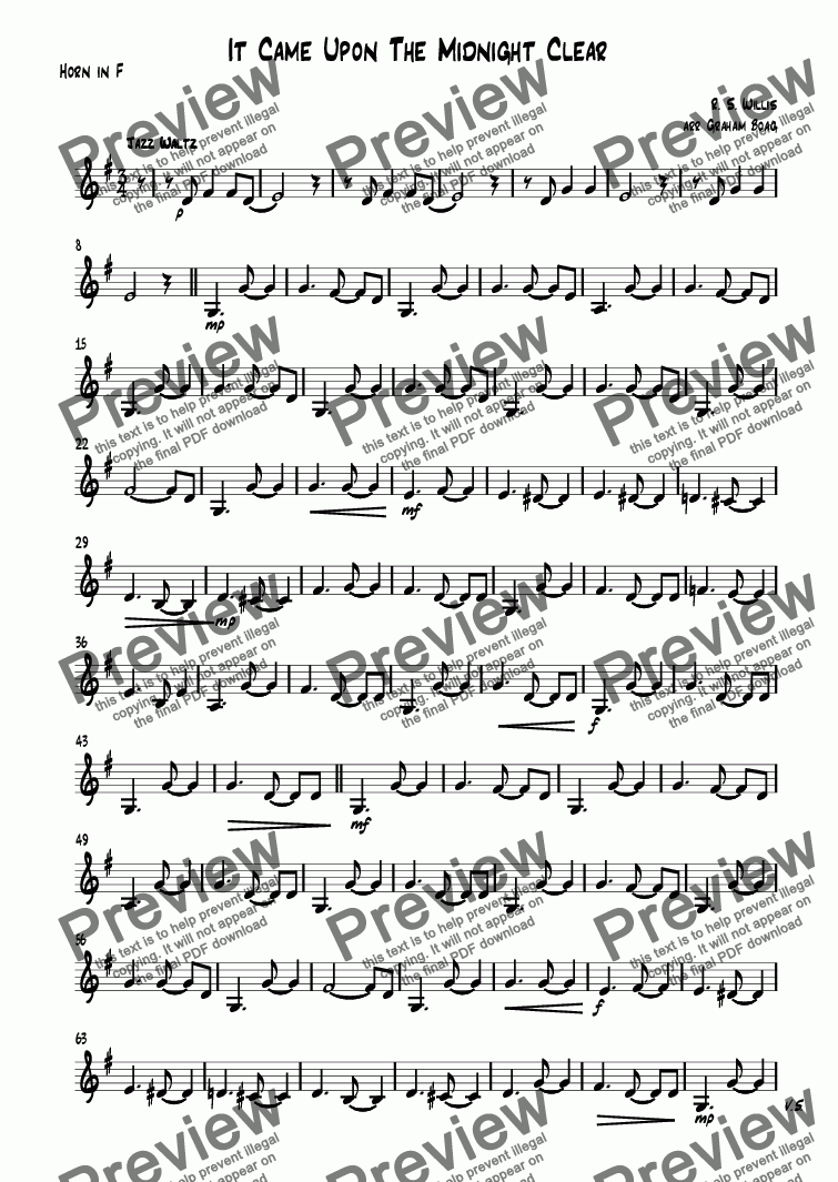 page one of the Horn in F part from It Came Upon The Midnight Clear
