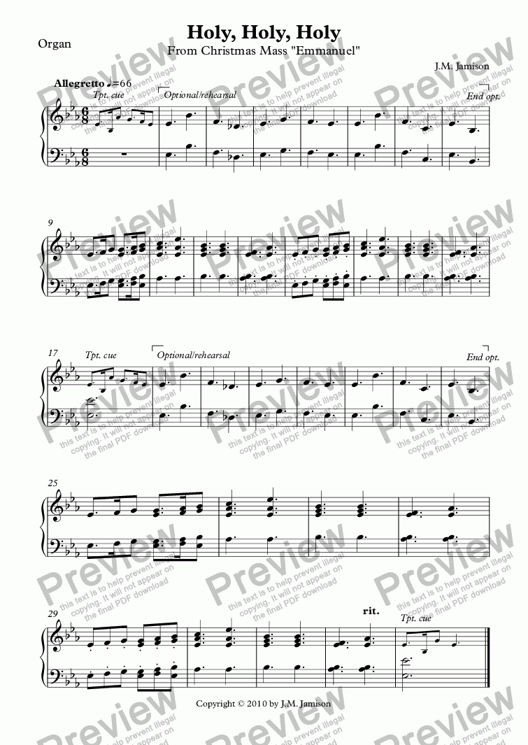 page one of the Organ part from Holy, Holy, Holy (Christmas Mass) (full score)