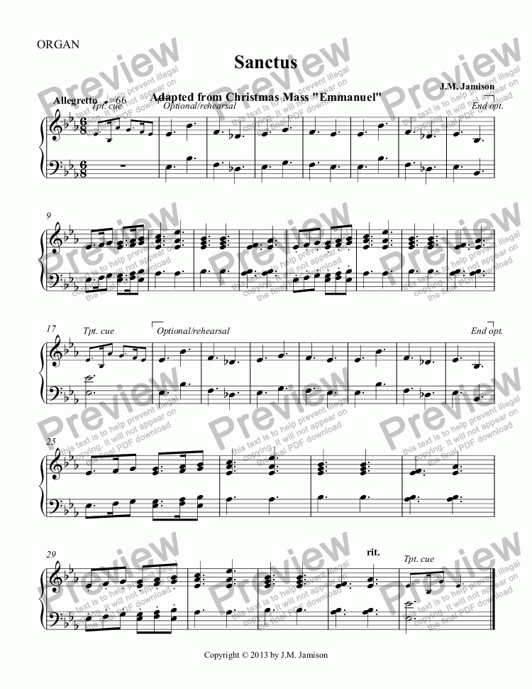 page one of the ORGAN part from Sanctus (Christmas Mass) (full score)