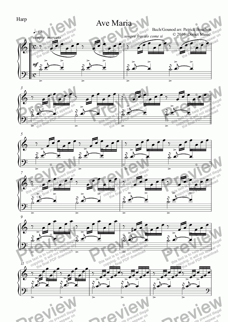 "page one of the Harp part from Ave Maria ""Meditation"" (Bach/Gounod) for Violin and Orchestra"