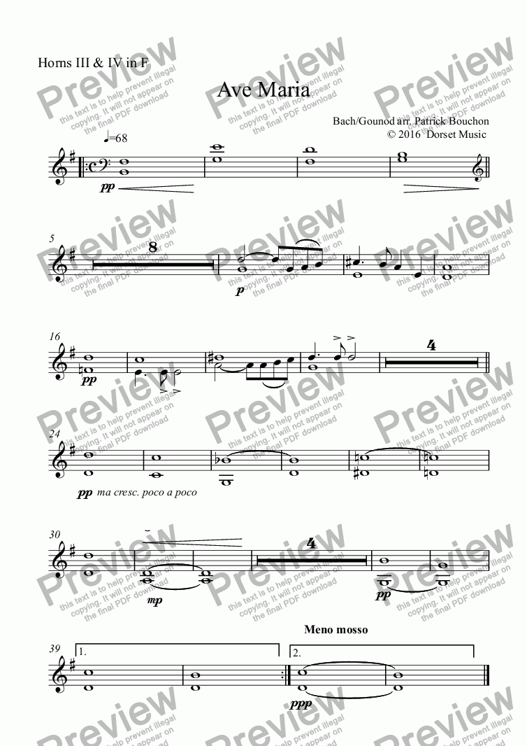 "page one of the Horns III & IV in F part from Ave Maria ""Meditation"" (Bach/Gounod) for Violin and Orchestra"