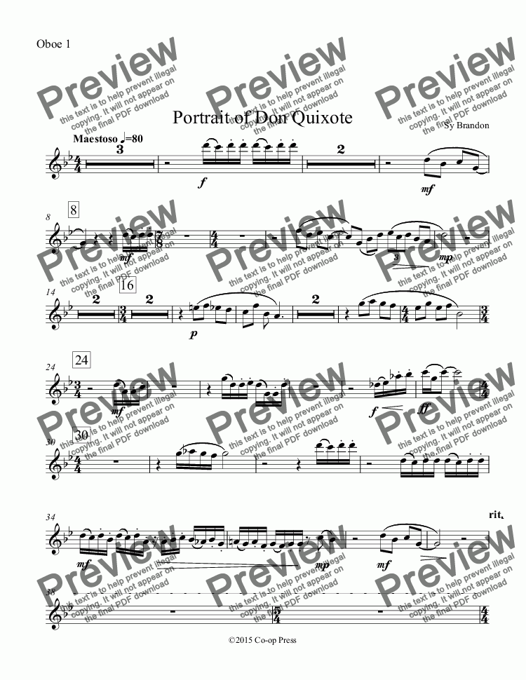 page one of the Oboe 1 part from Portrait of Don Quixote