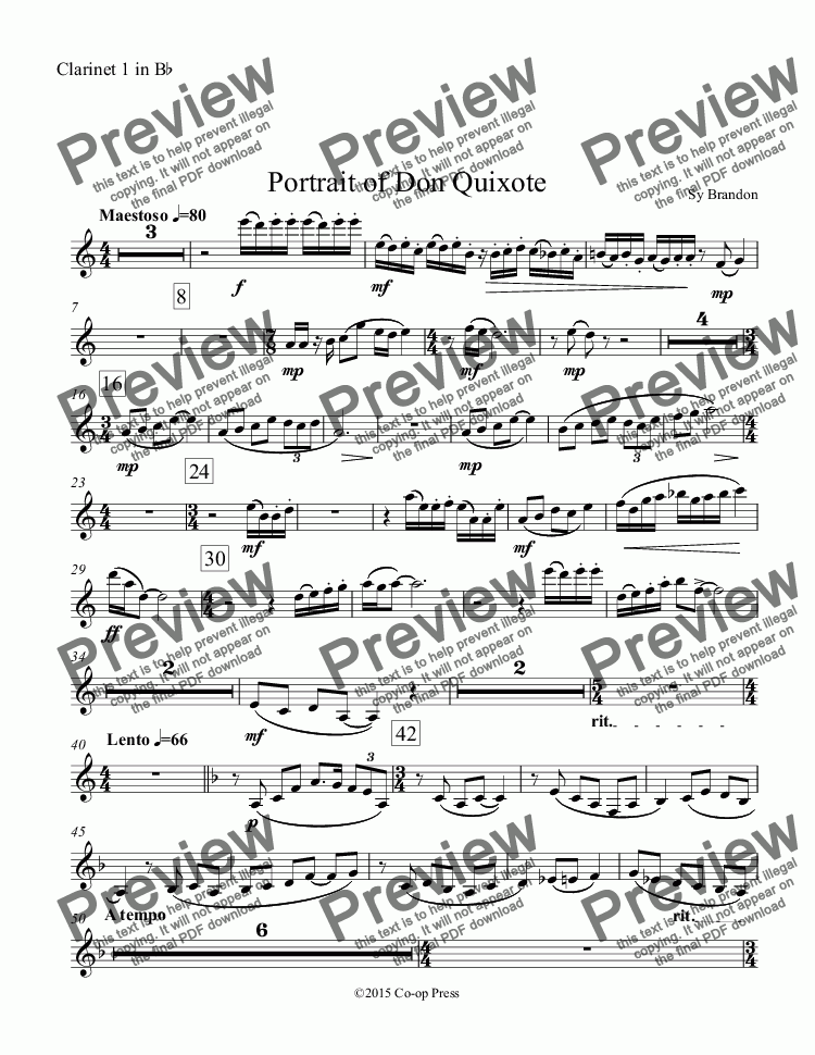 page one of the Clarinet 1 in B^b part from Portrait of Don Quixote
