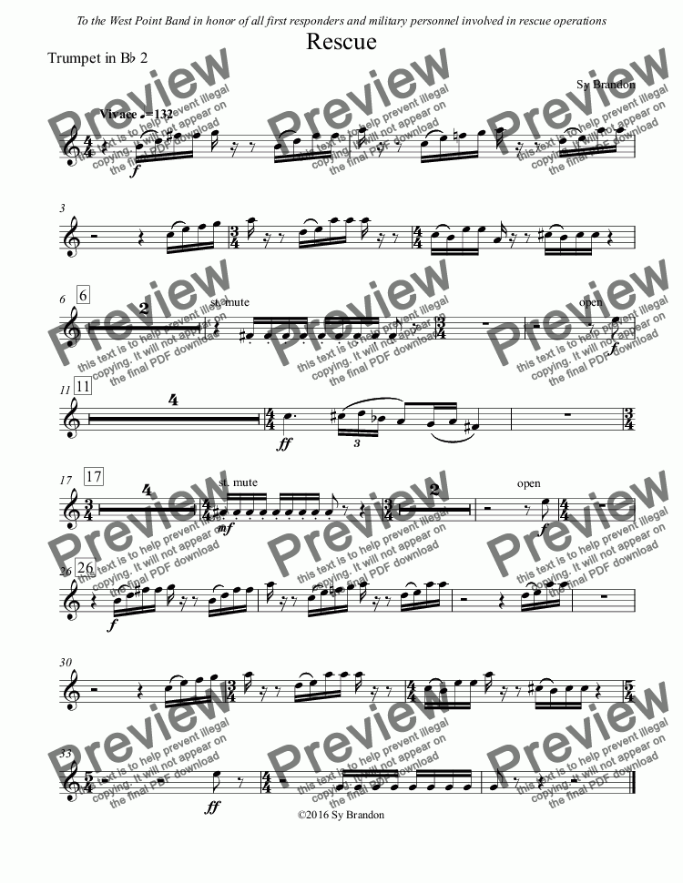 page one of the Trumpet in B^b 2 part from Rescue for Concert Band