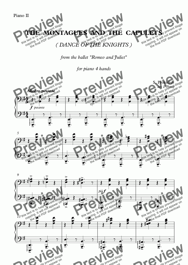 page one of the Piano II part from Prokofiev - THE MONTAGUES AND THE CAPULETS - piano 4 hands