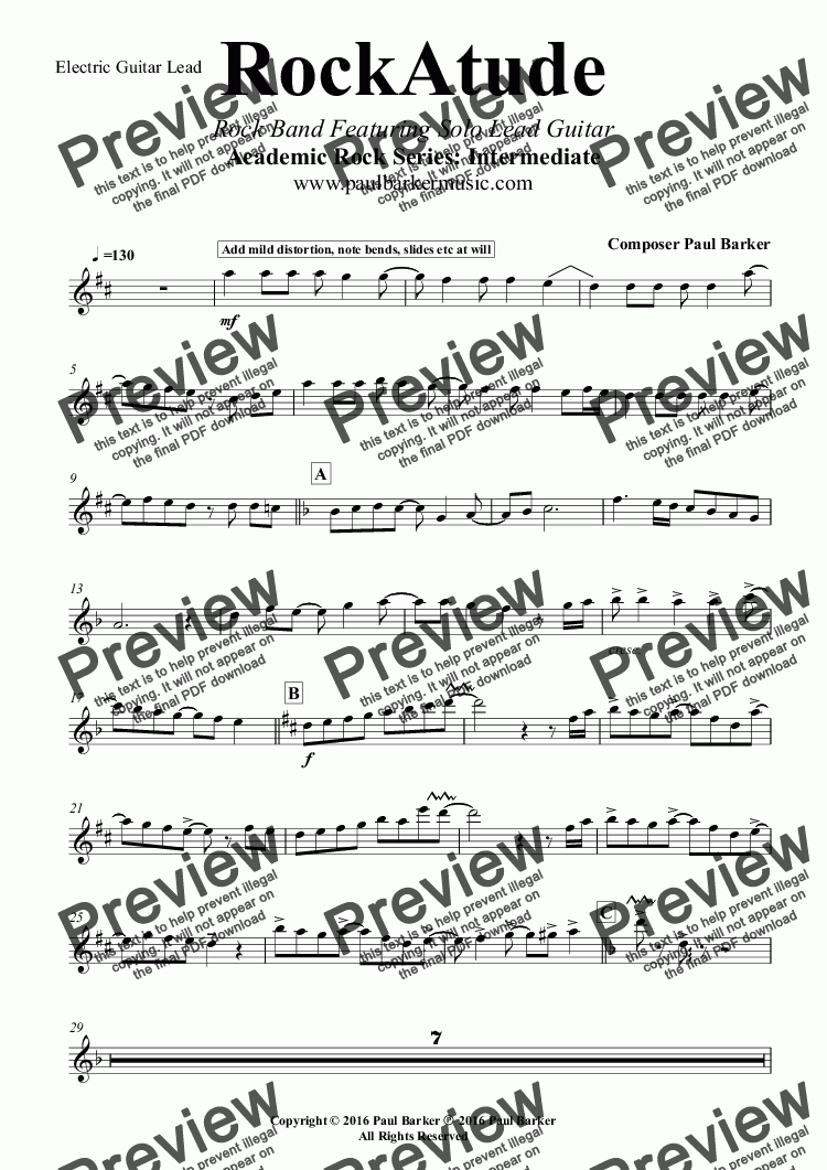 page one of the Electric Guitar Lead part from RockAtude (Rock Band Version) Featuring Solo Lead Guitar