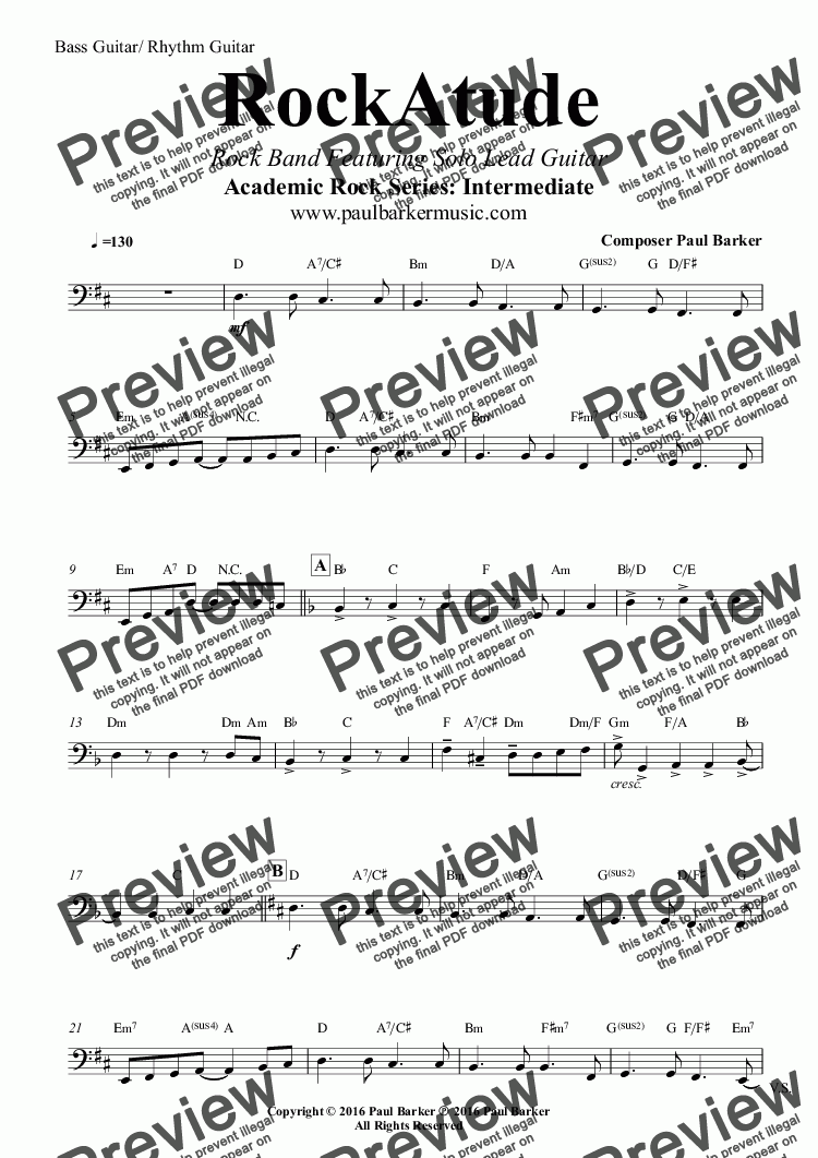 page one of the Bass Guitar/ Rhythm Guitar part from RockAtude (Rock Band Version) Featuring Solo Lead Guitar
