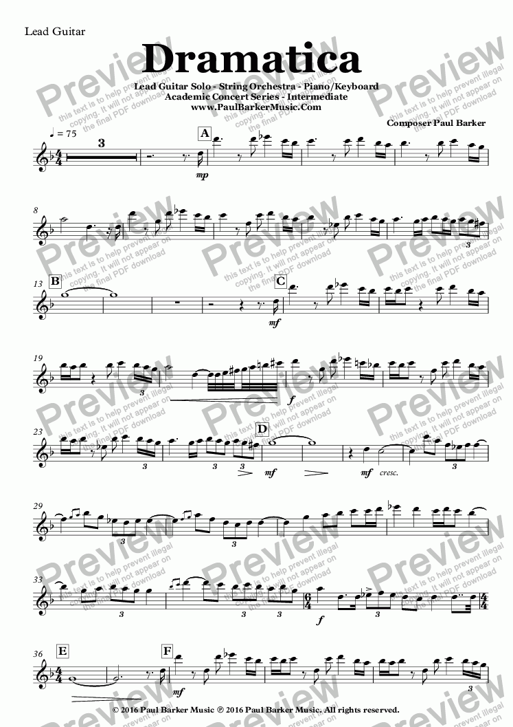 page one of the Lead Guitar part from Dramatica For Lead Guitar Solo - String Orchestra