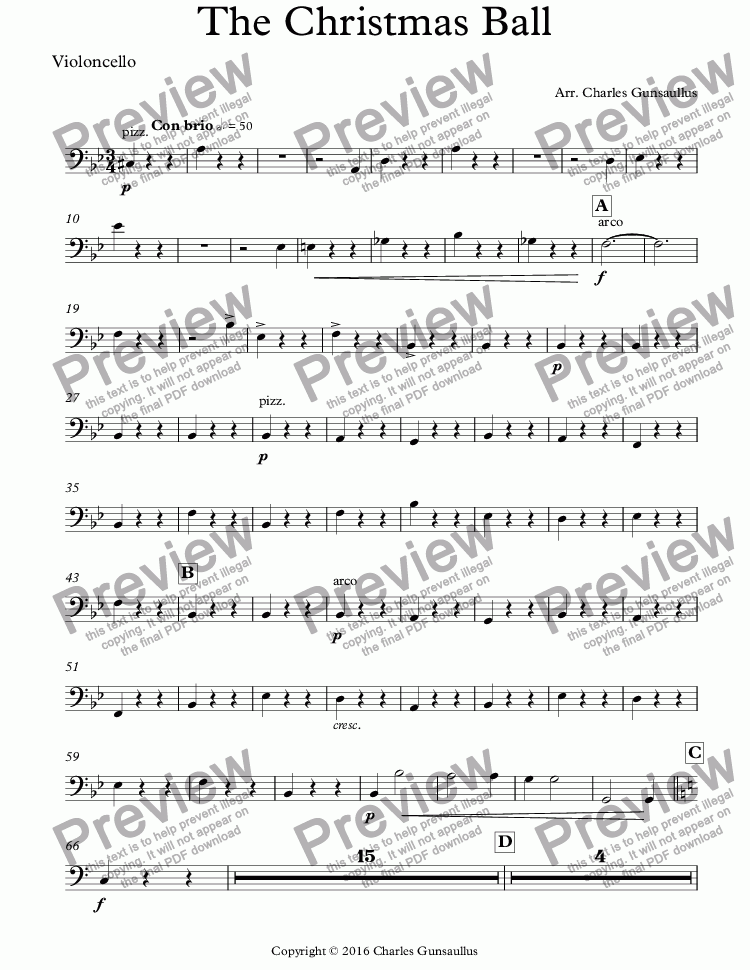 page one of the Violoncello part from The Christmas Ball