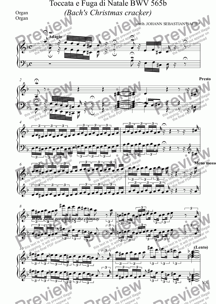 page one of the Organ part from Bach's Christmas cracker