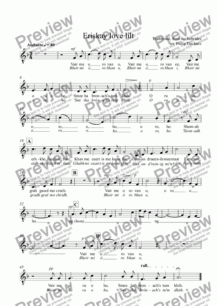 page one of the Tenor part from Eriskay love lilt
