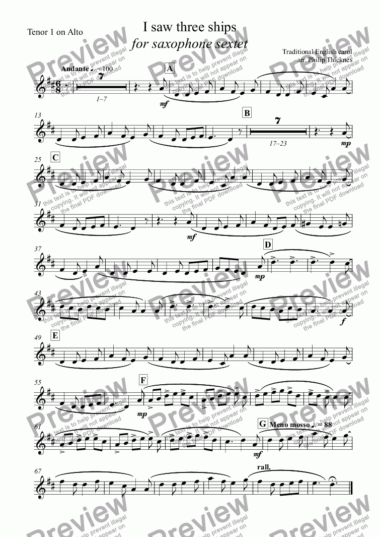 page one of the Tenor 1 on Alto part from I saw three ships  for saxophone sextet