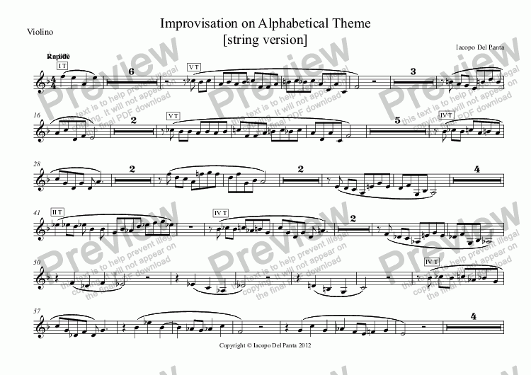 page one of the Violino part from Improvisation on Alphabetical Theme (String)