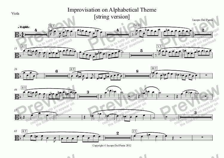 page one of the Viola part from Improvisation on Alphabetical Theme (String)