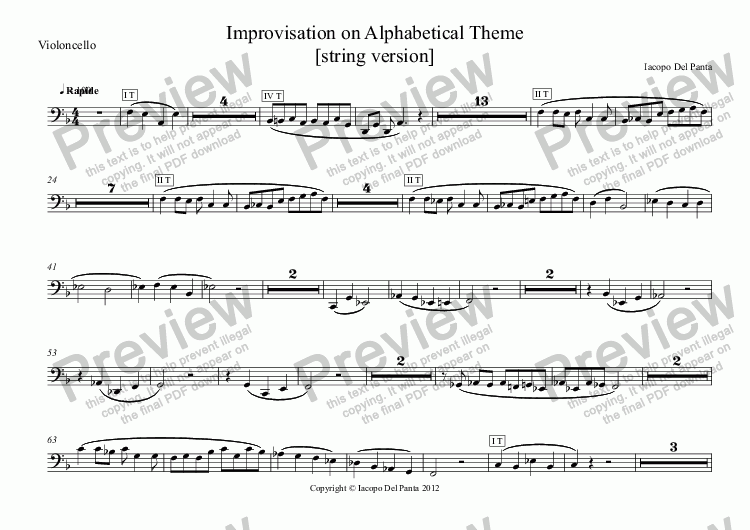 page one of the Violoncello part from Improvisation on Alphabetical Theme (String)