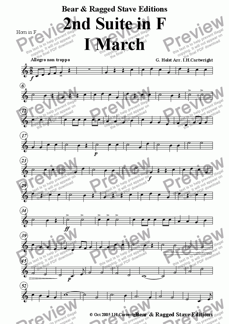 page one of the Horn in F part from 2nd Suite in F  -  I. March for brass quintet