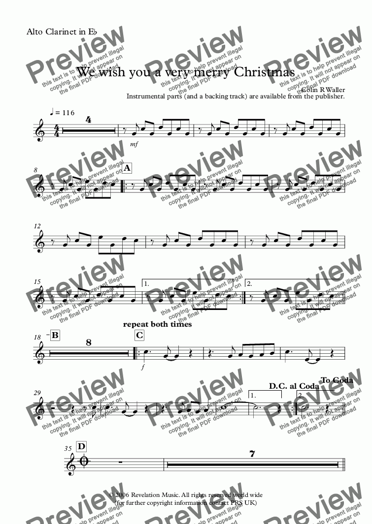 page one of the Alto Clarinet in E^b part from We wish you a very merry Christmas
