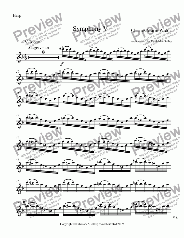 page one of the Harp part from Widor: Symphony No. 5 V Toccata