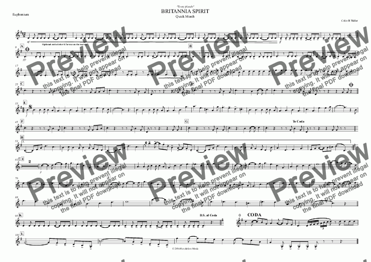 page one of the Euphonium part from BRITANNIA SPIRIT