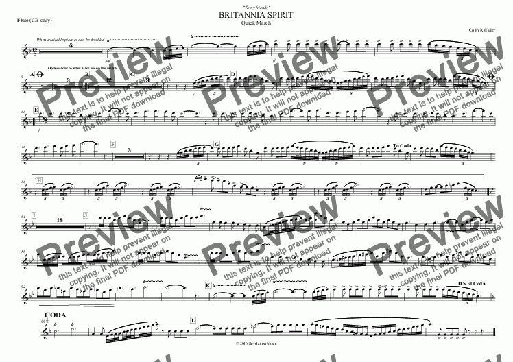 page one of the Flute (CB only) part from BRITANNIA SPIRIT
