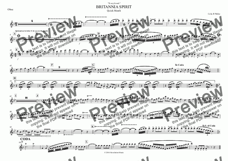 page one of the Oboe part from BRITANNIA SPIRIT