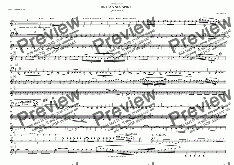 page one of the 2nd Clarinet in B^b part from BRITANNIA SPIRIT
