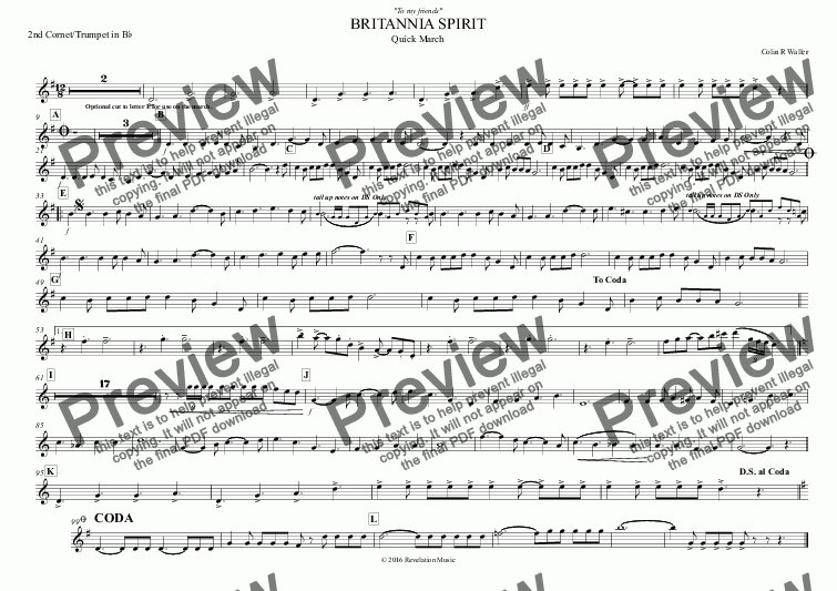page one of the 2nd Cornet/Trumpet in B^b part from BRITANNIA SPIRIT