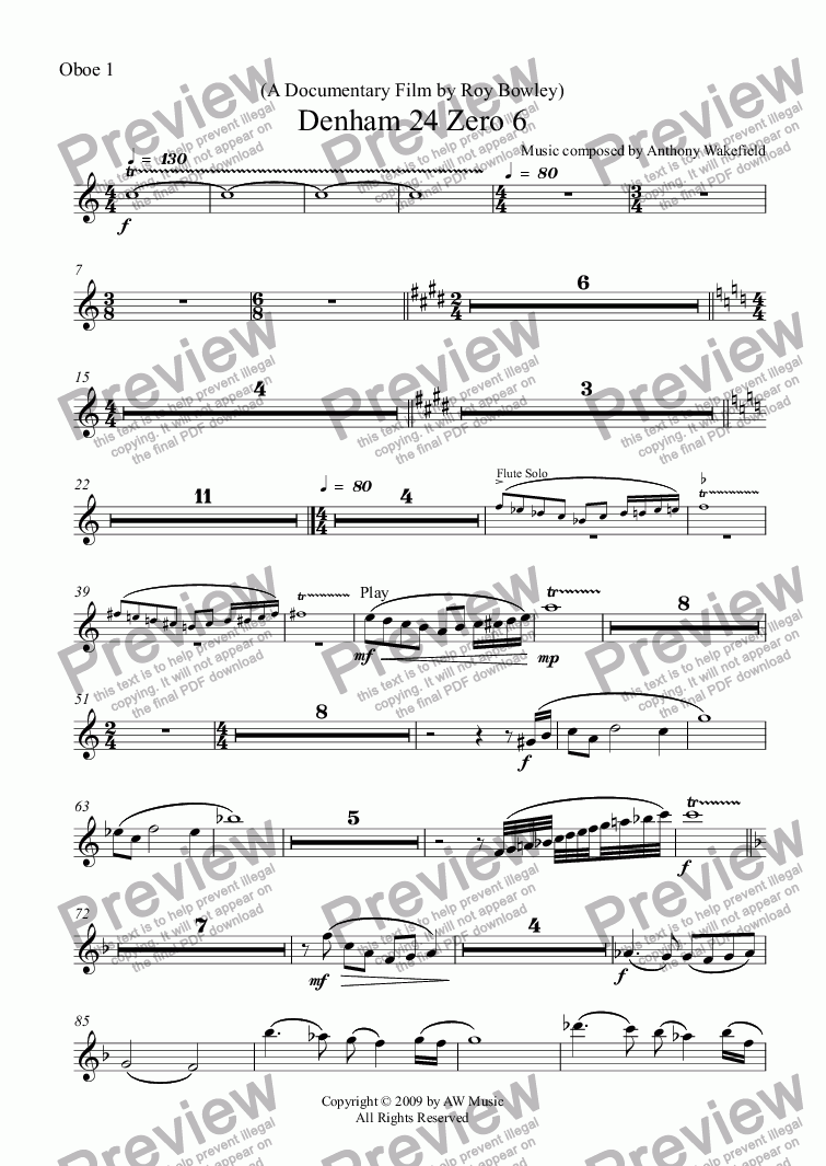 page one of the Oboe 1 part from Denham 24 Zero 6