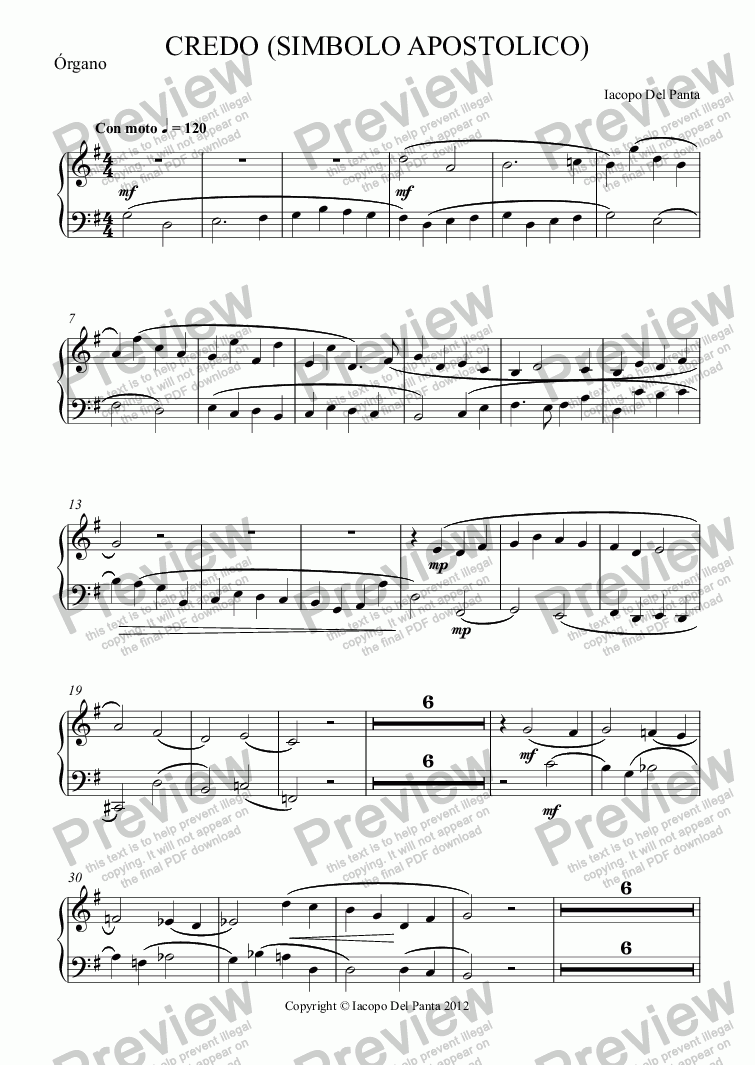 page one of the Órgano part from Credo (Simbolo Apostolico) (String)
