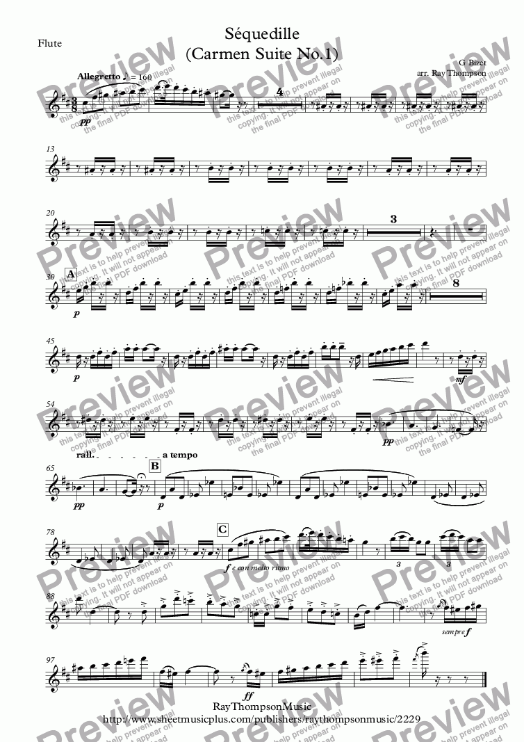 page one of the Flute part from Bizet: Séquedille (Carmen Suite No.1)(Carmen's Aria Act 1) - wind quintet