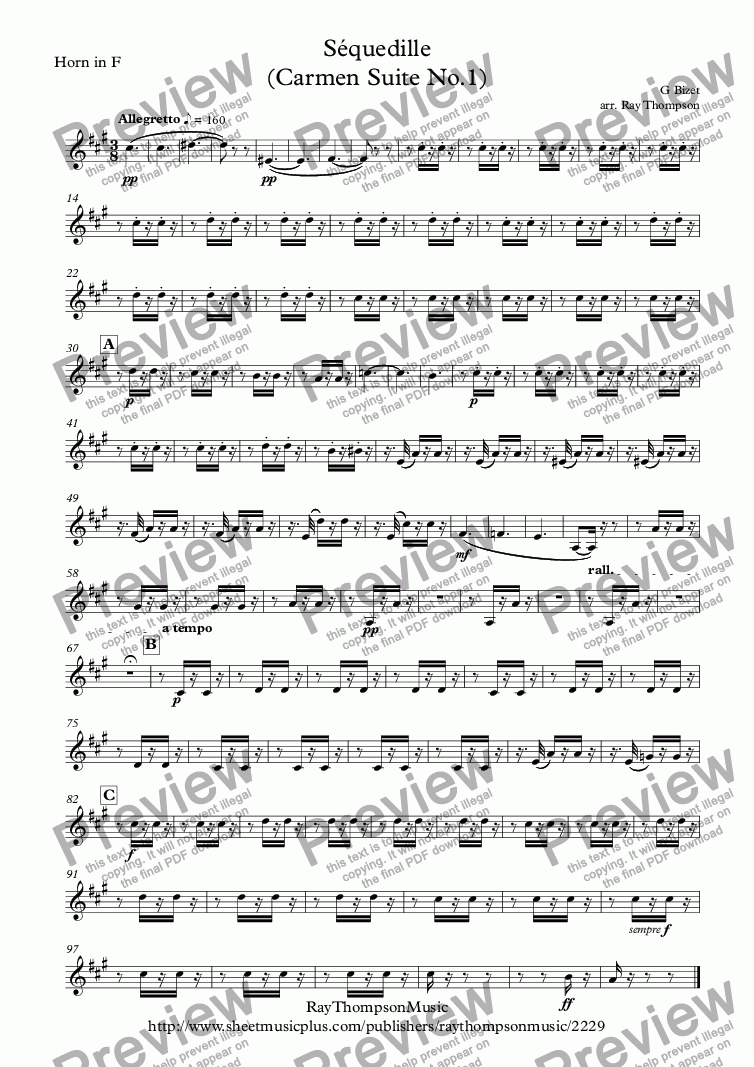 page one of the Horn in F part from Bizet: Séquedille (Carmen Suite No.1)(Carmen's Aria Act 1) - wind quintet