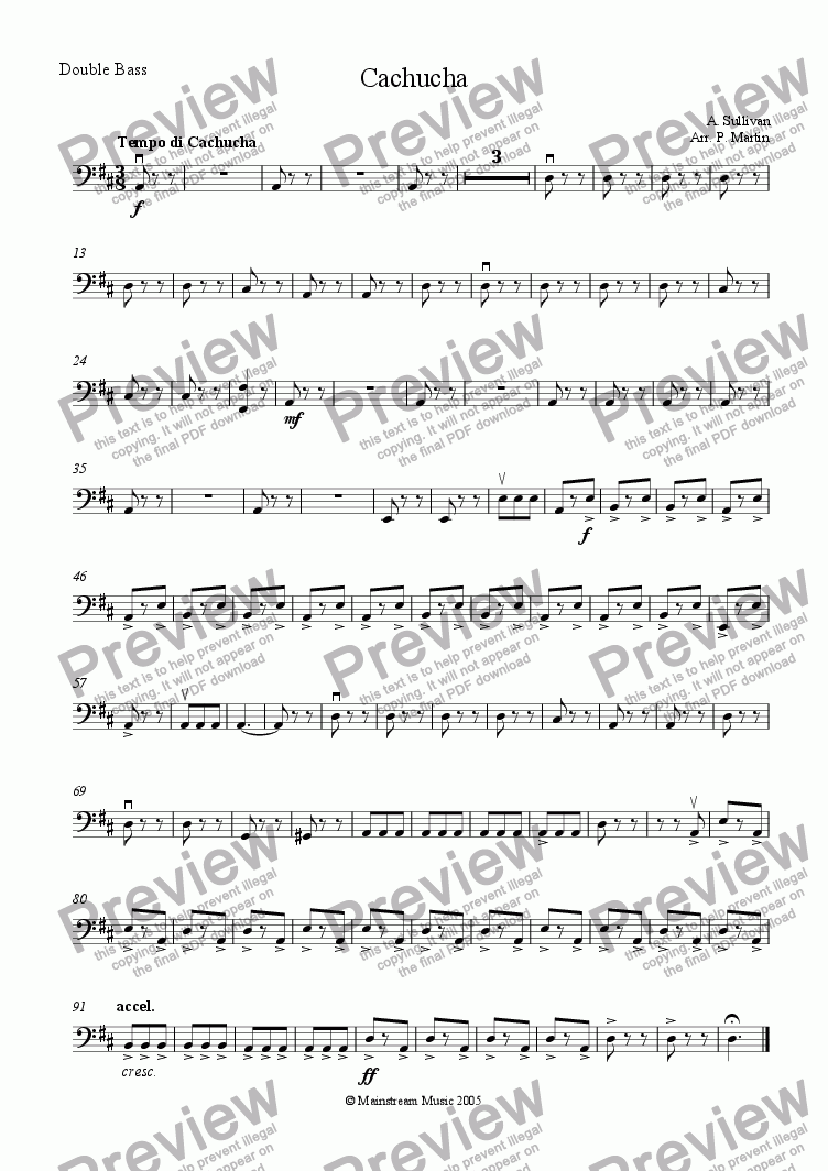 page one of the Bass part from Cachucha
