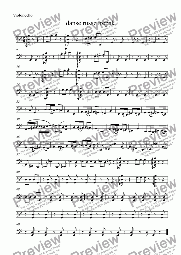 page one of the Violoncello part from danse russe trepak