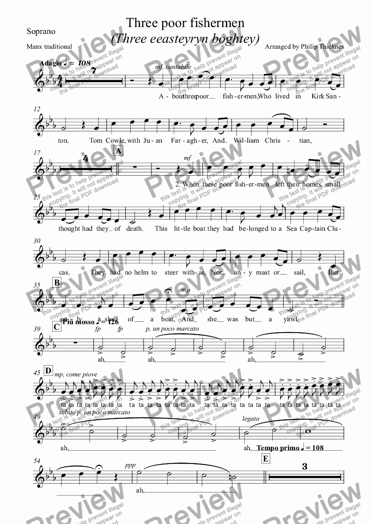 page one of the Soprano part from Three poor fishermen