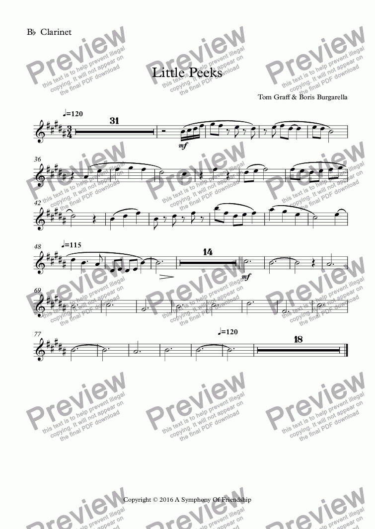 page one of the B^b^ Clarinet part from Little Peeks