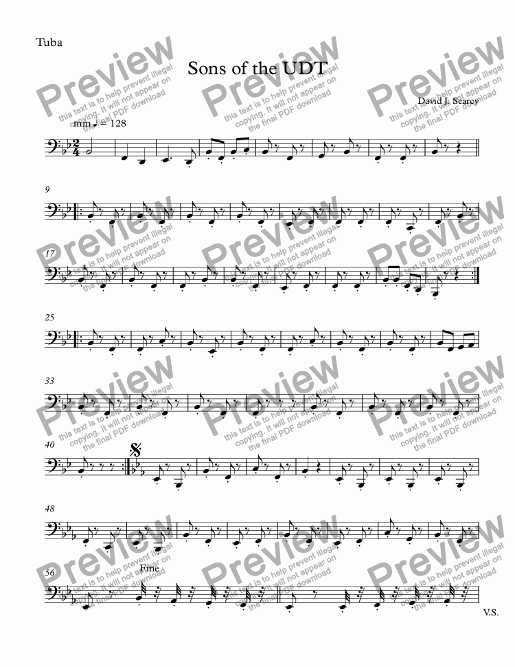 page one of the Tuba part from Sons of the UDT