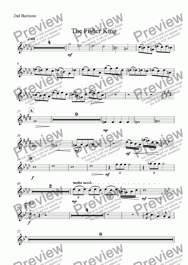 page one of the 2nd Baritone part from The Fisher King