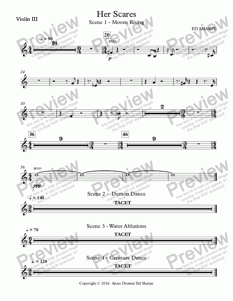 page one of the Violin III part from Her Scars