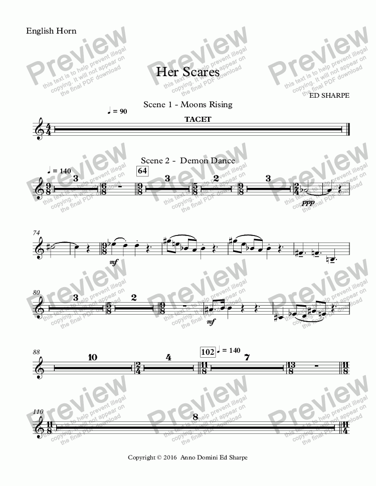 page one of the English Horn part from Her Scars