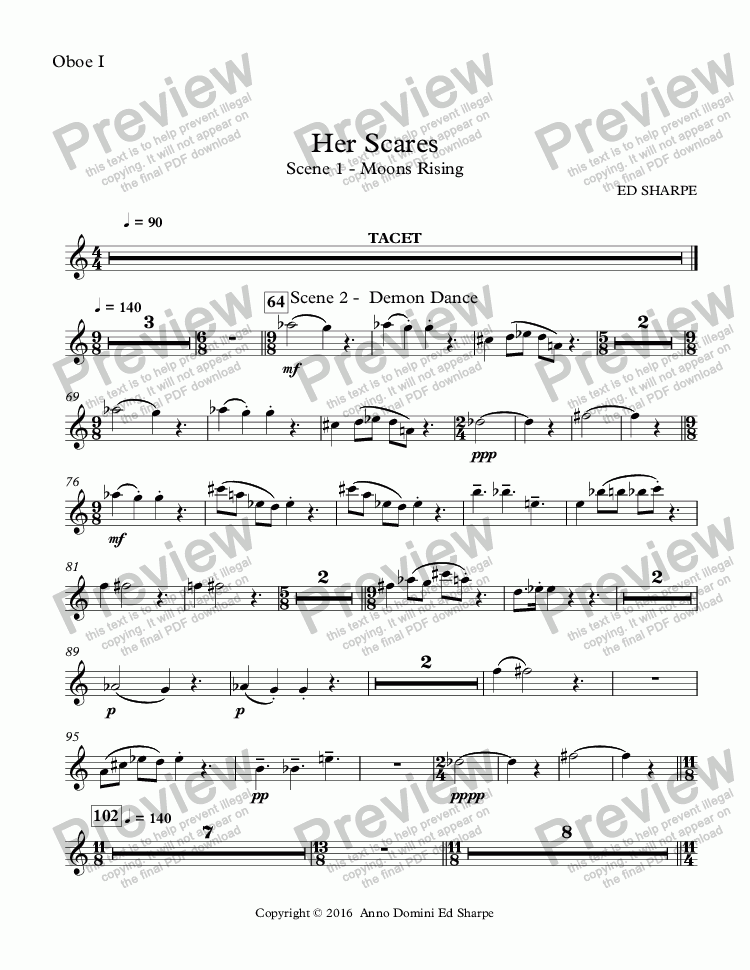 page one of the Oboe I part from Her Scars