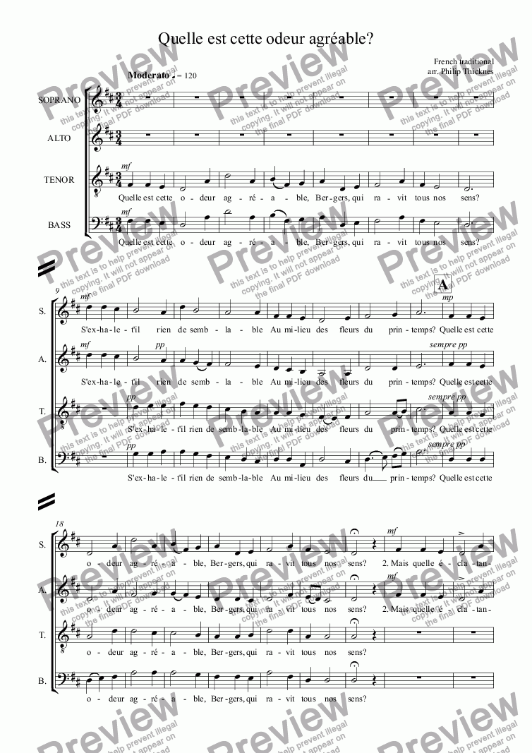 page one of the TENOR part from Quelle est cette odeur agréable (SATB)