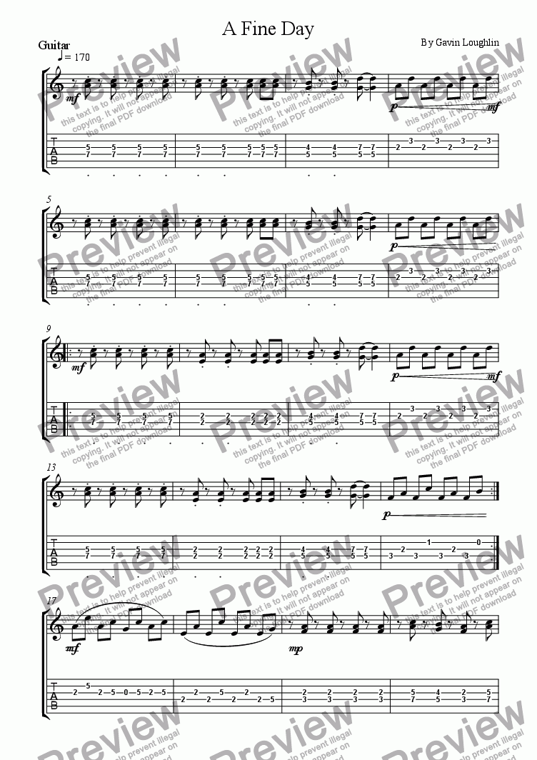 page one of the Guitar 2 + Tab part from A Fine Day