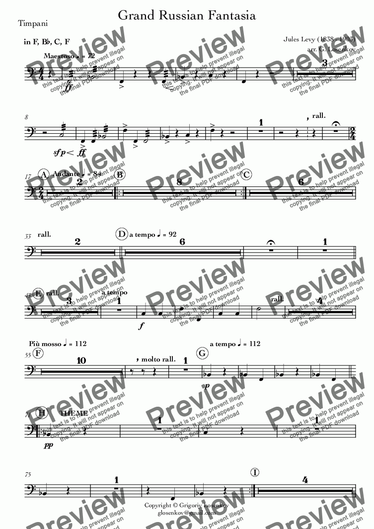 page one of the 20_Timpani part from Grand Russian Fantasia