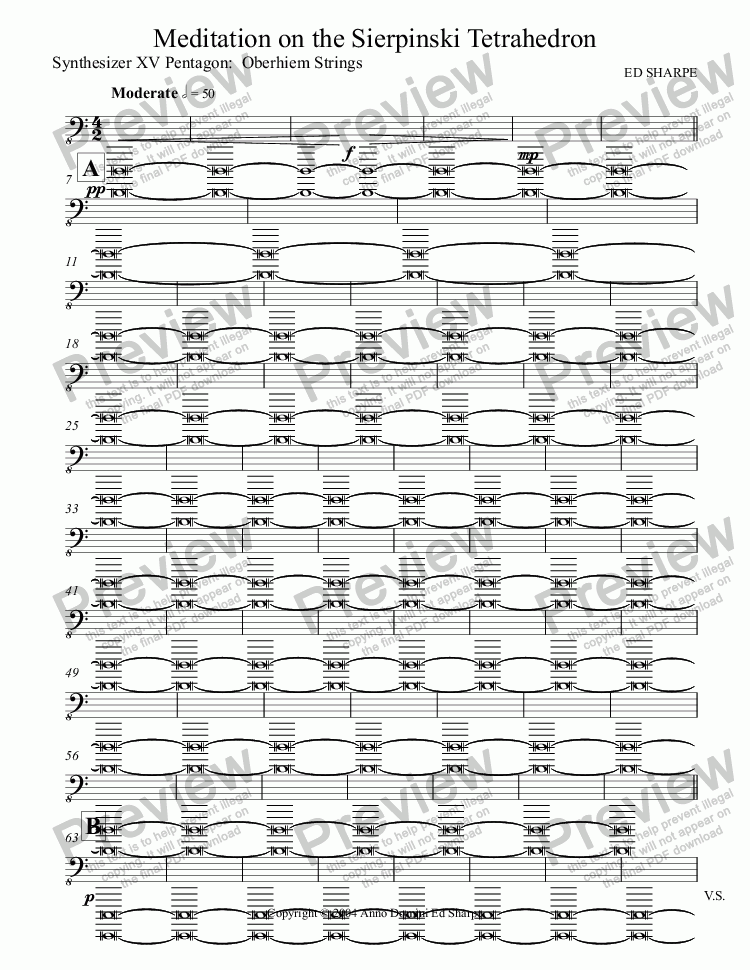 page one of the Synthesizer XV Pentagon:  Oberhiem Strings part from Meditation on the Sierpinski Tetrahedron