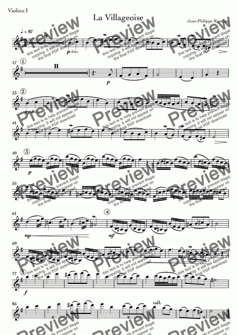 page one of the Violino I part from La Villageoise