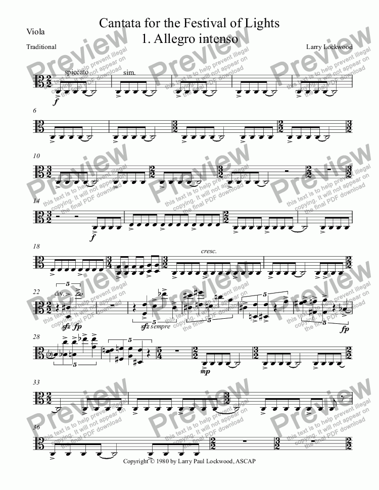 page one of the Viola part from Cantata for the Festival of Lights 1-4