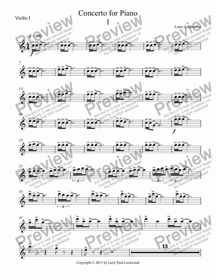 page one of the Violin I part from Concerto for Piano